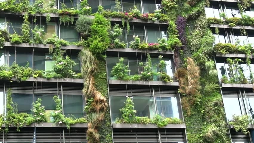 Sydney, Australia, January 2018 Highest vertical garden living wall in the world, Sydney Australia - pan facade