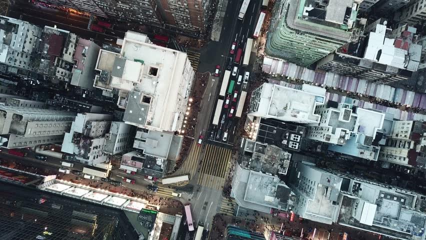 Drone flight over Kowloon, Hong Kong | Shutterstock HD Video #1010621087