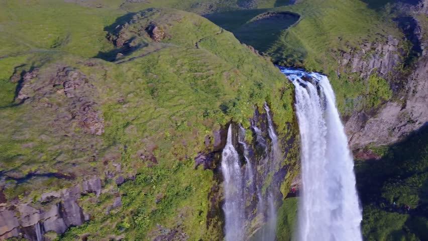 Aerial view Seljalandsfoss waterfall, Iceland | Shutterstock HD Video #1010634248