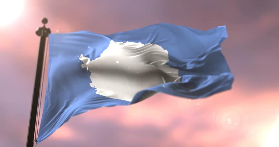 Antarctica flag waving in slow at sunset, loop | Shutterstock HD Video #1010634764