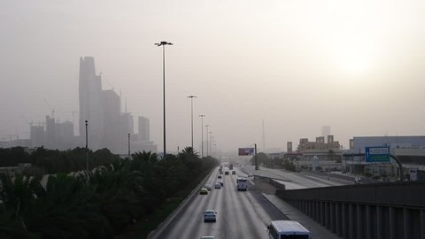Main Road in Riyadh City (Dusty Weather). Saudi Arabia