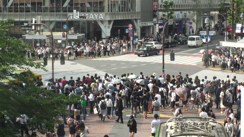 SHIBUYA,  TOKYO,  JAPAN - CIRCA MAY 2018 : Scenery of SHIBUYA around big scramble crossing in summer. #1010644916