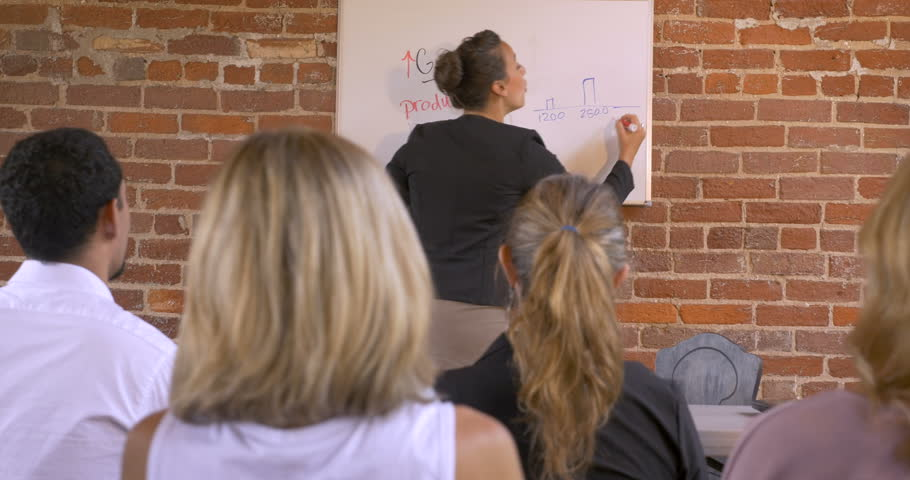 Female multi-ethnic motivational speaker getting the audience excited at a business presentation writing on a dry erase board   Shutterstock HD Video #1010646188