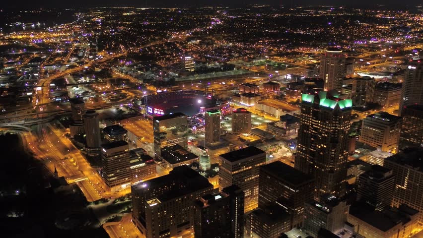 Aerial Missouri St Louis July 2017 Night 4K  Aerial video of St Louis in Missouri on a clear night
