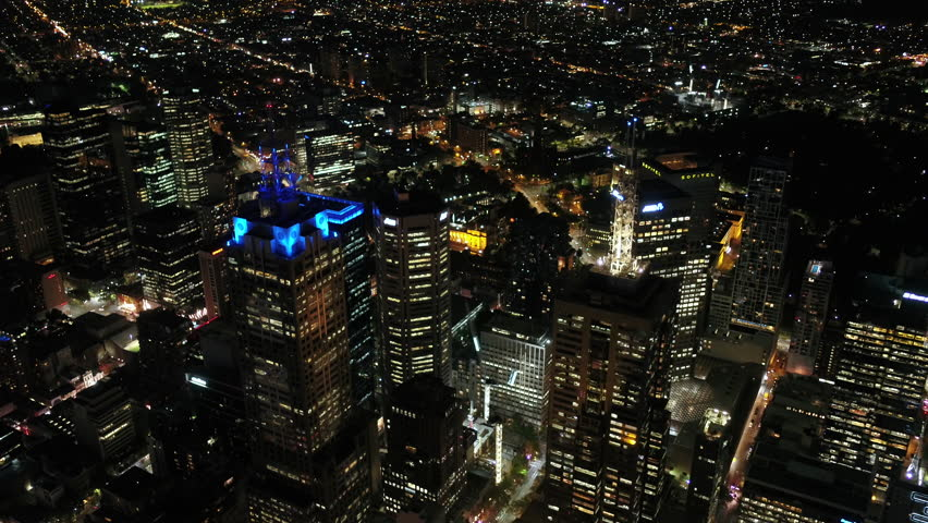 Aerial Australia Melbourne April 2018 Night 30mm 4K Prores  Aerial video of downtown Melbourne at night. | Shutterstock HD Video #1010660759