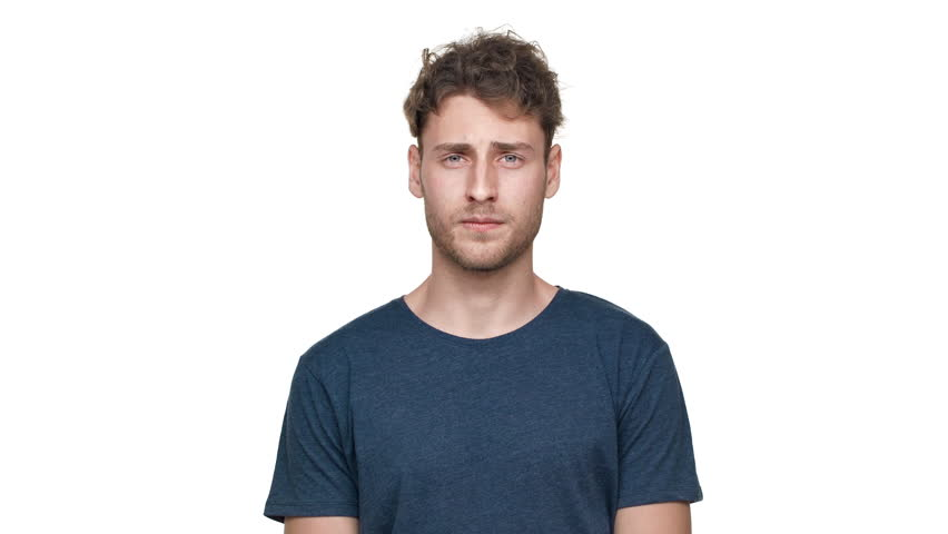 Portrait of caucasian man with awful expressions on face pinching nose due to bad disgusting smell, isolated over white background. Concept of emotions