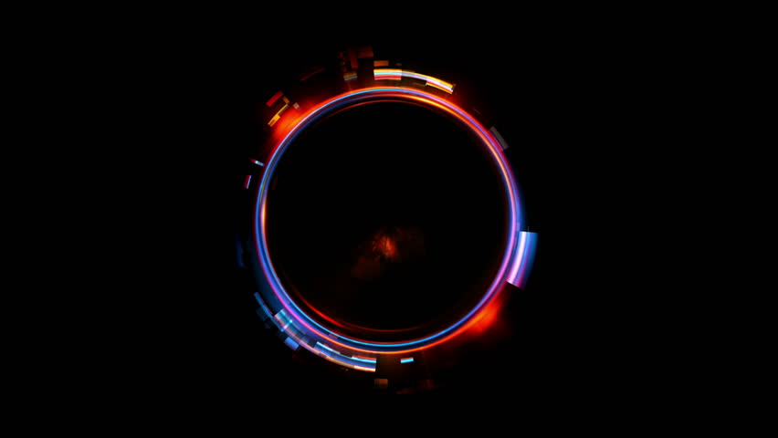 Abstract neon background. Shine ring. Halo around. Sparks particle.  Space tunnel. LED color ellipse. Glint glitter. Shimmer loop motion.  Empty hole. Glow portal. Astral ball. Slow spin. Bright disc.   Shutterstock HD Video #1010674301
