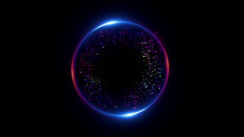 Abstract neon background. Shine ring. Halo around. Sparks particle.  Space tunnel. LED color ellipse. Glint glitter. Shimmer loop motion.  Empty hole. Glow portal. Pink ball. Slow spin. Bright disc.