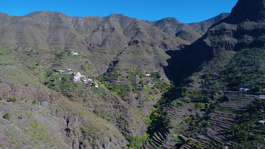 drone flight over high mountains