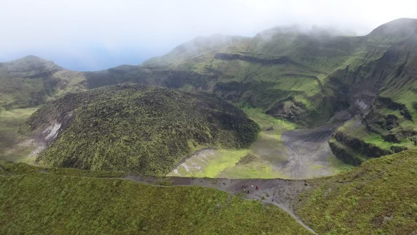 Active Volcano Cater at the peek of 4000ft La Soufriere in Saint Vincent and the Grenadines: Aerial drone View - 6 May 2018