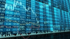 Table and bar graph of cryptocurrency stock exchange market indices animation 4k seamless looping video background. Abstract currency rate chart looped animated blue backdrop.