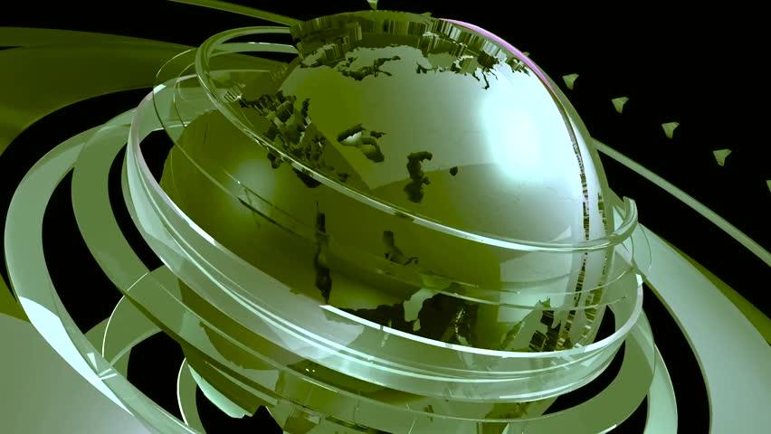 Globe green intro news earth | Shutterstock HD Video #1010707421
