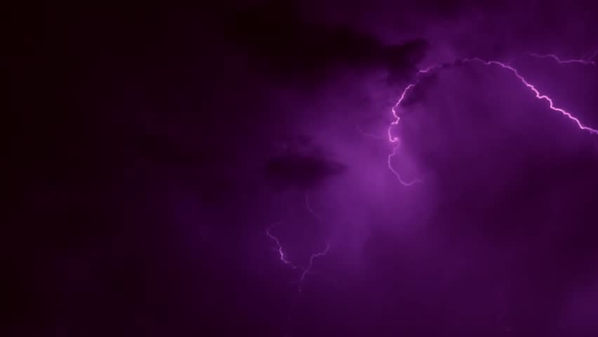 Thunderstorm clouds at night with lightning. Timelapse. Various lightning bolts strike forest night landscape, sound included, 4K very beautiful & danger weather. ULTRA HD.