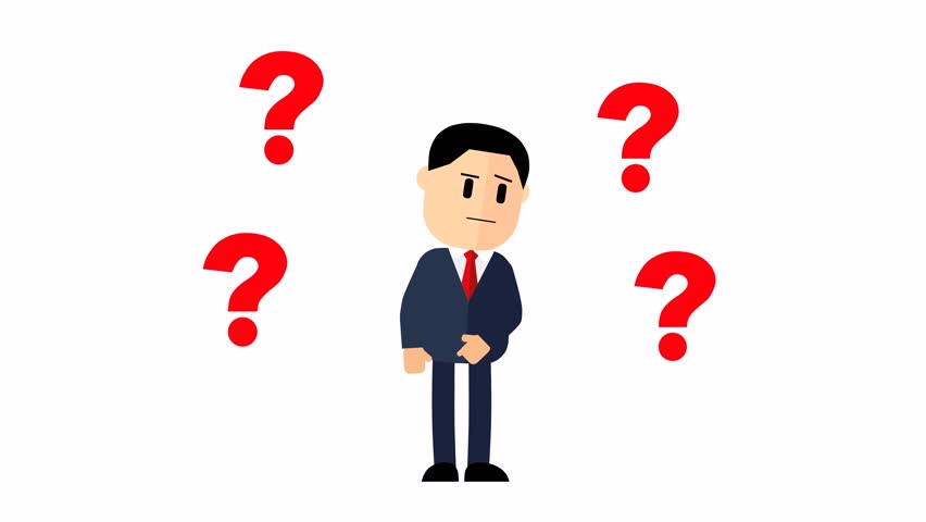 Cartoon businessman. Question marks over the head man in a business suit. footage, Royalty-Free Stock Footage #1010723846