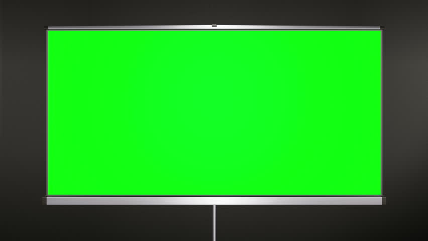 Projection cinema screen pull-down and camera zoom to green screen.  Balck wall behind tripod. 3d cgi 60 fps animation. | Shutterstock HD Video #1010737205