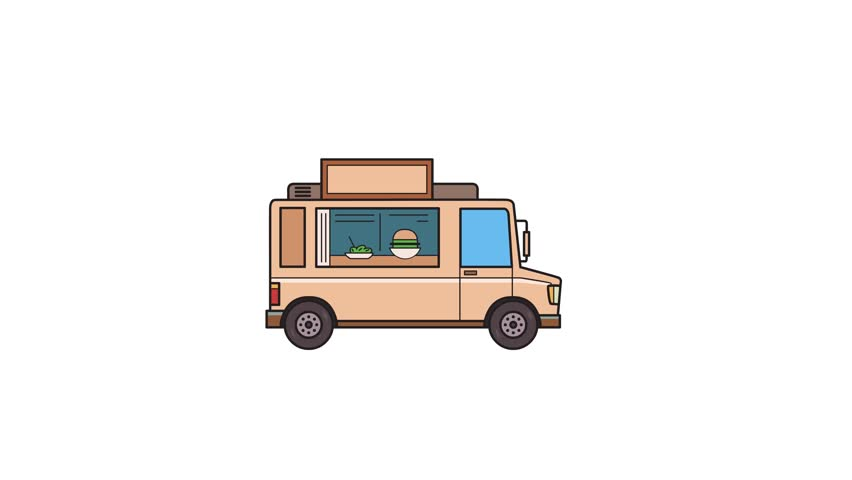 Animated beige food truck, side view. Flat animation. Isolated on white background.