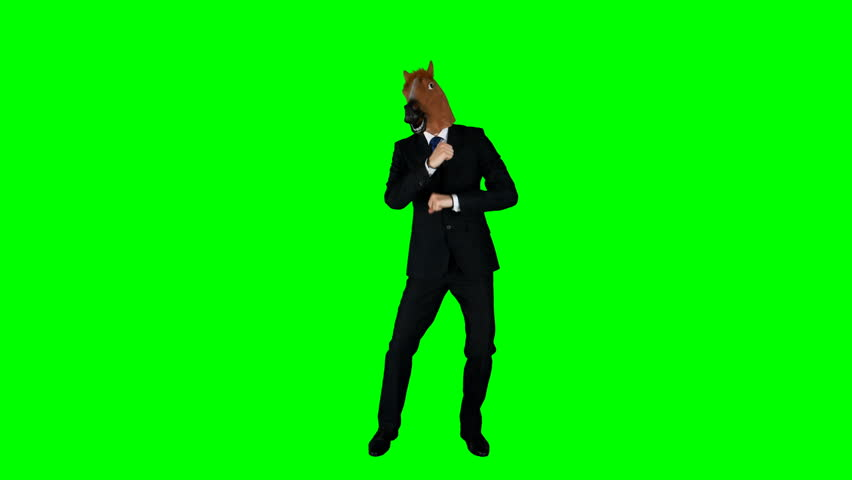 Hilarious Businessman Dancing Ridiculous Fooling Around Horse Mask Green Screen