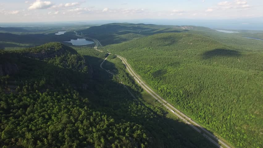 4K aerial of an interstate highway in the Adirondacks mountains, upstate New York, USA