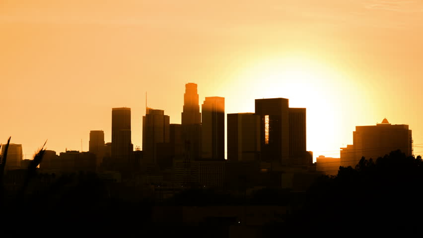 Day to night transition time lapse Los Angeles downtown #1010765000