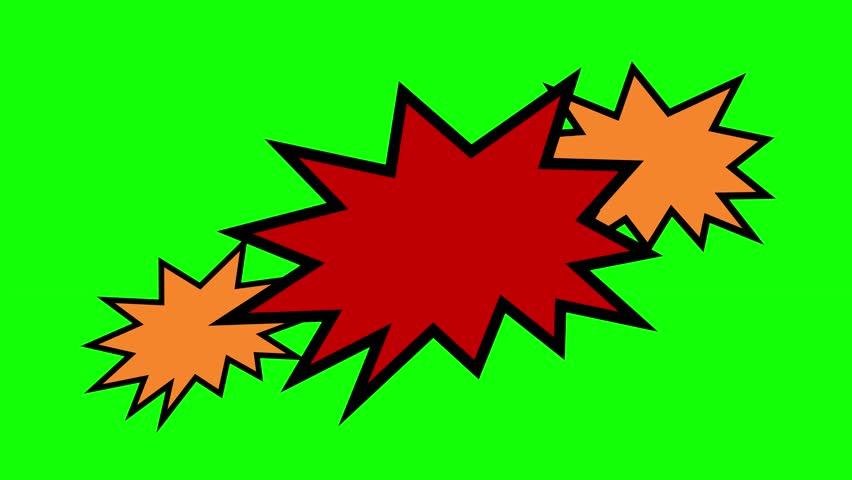 A set of colorful empty shapes with spikes on a green background, a template for a comic strip speech bubble cartoon, fill in with the words of your choice.