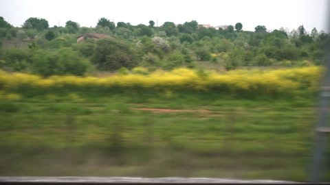 Window View from Train, Car or Bus, 4k video 3840X2160, No edit, No Color Correction