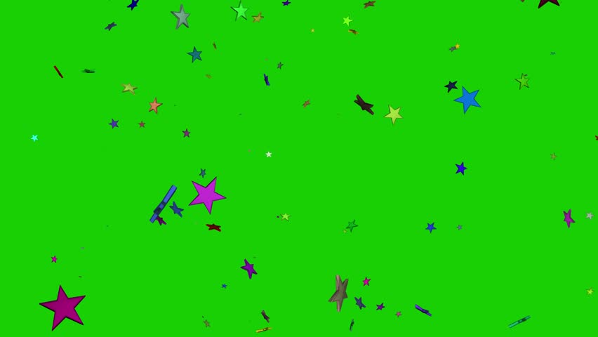 Isolated falling colorful stars rendering. Ornament for birthday, celebration in green screen.  | Shutterstock HD Video #1010796875