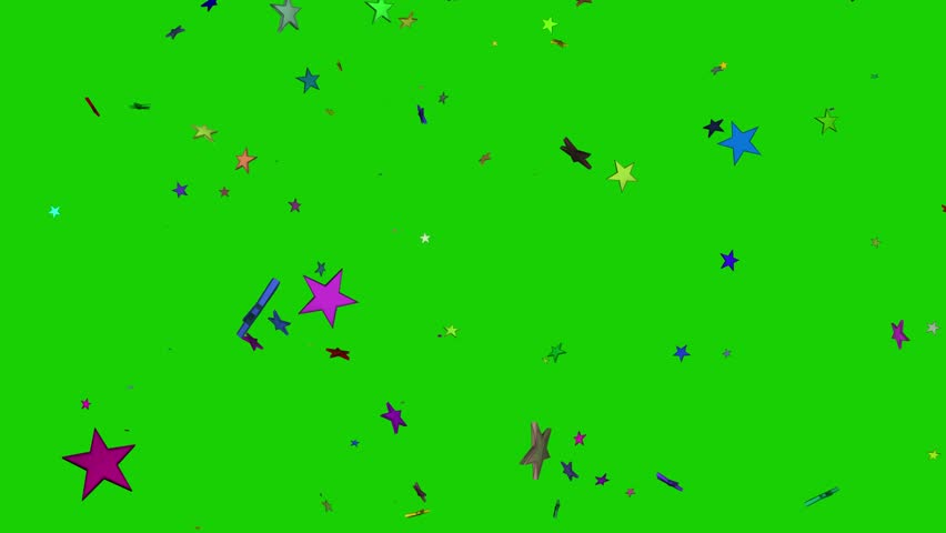 Isolated falling colorful stars rendering. Ornament for birthday, celebration in green screen.  | Shutterstock HD Video #1010796881