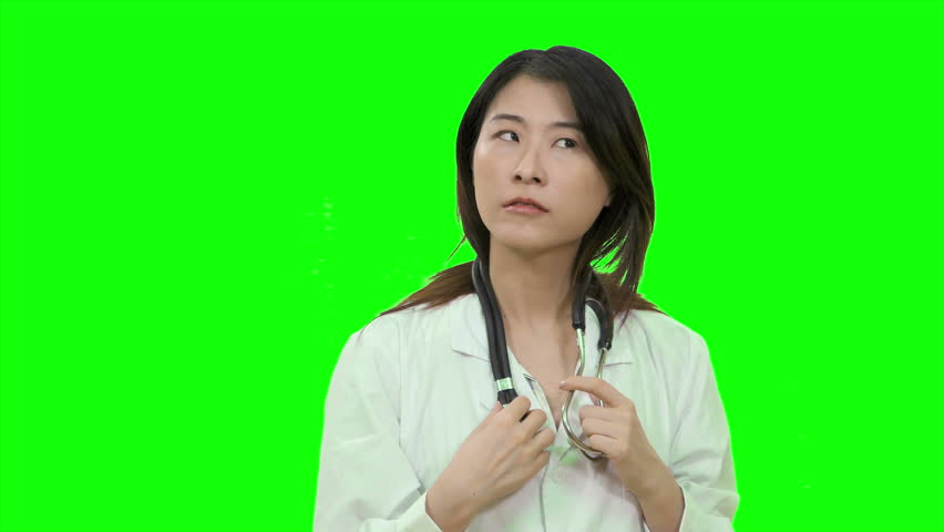 Asian female doctor thinking and having breakthrough aha moment on Green Screen