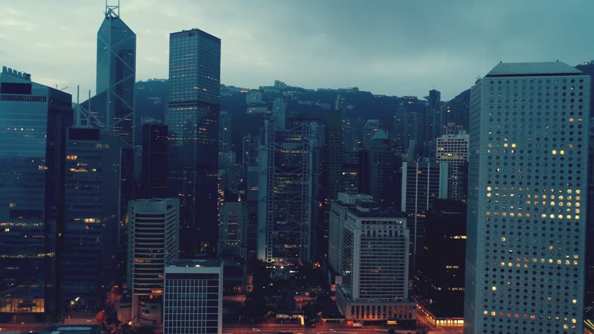 AERIAL. Cinematic style video og Hong Kong city in Night time.