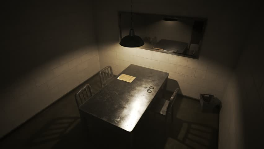 Empty, dark interrogation room with one-way mirror, metal table and chairs, handcuffs and case files.