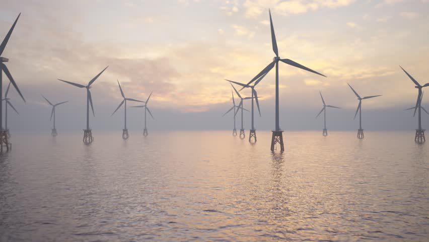 Camera running through the field of offshore wind turbines.