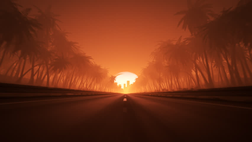 Endless road leading to the city during sunset. Looped animation.
