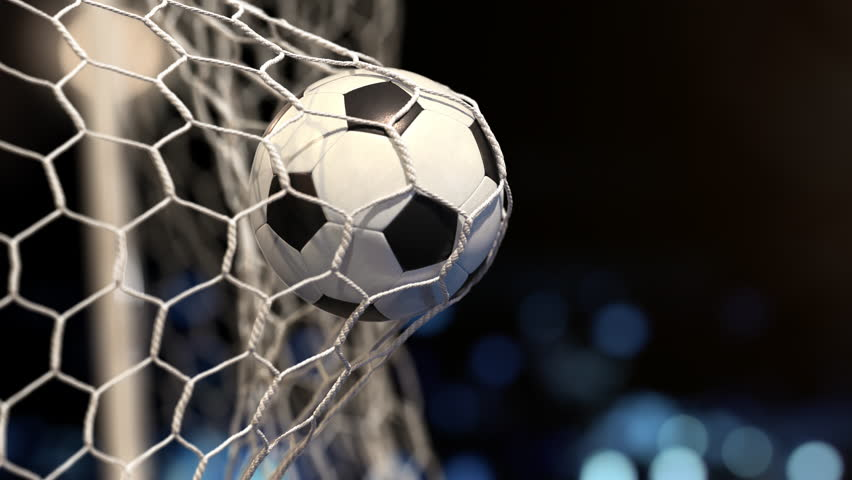 Soccer ball flies into the net on a stadium with yellow and blue lights. In slow motion. Close-up (4k, 3840x2160, ultra high definition) Royalty-Free Stock Footage #1010840585