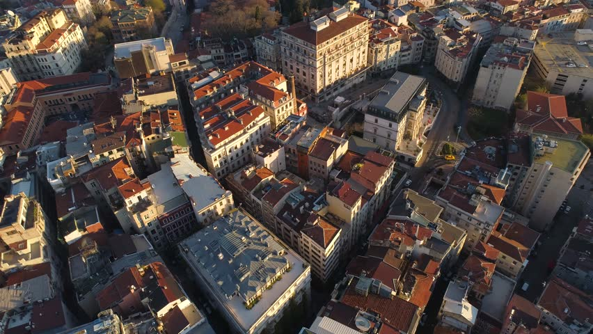 Aerial drone shot of sunset in Istanbul, Turkie. From above, city centre, downtown. European part of the city, historical place. Bosphorus. #1010840924