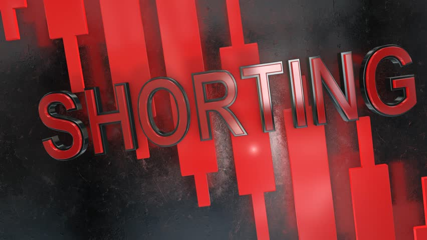 Short selling or shorting title graphic 3D animation for stock market