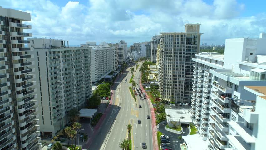 Aerial Miami Beach residential condominium buildings Collins Avenue