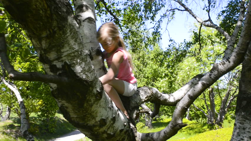 Child girl playing climbing on a tree in a summer park outdoor. Concept of healthy play and development of the child in nature  | Shutterstock HD Video #1010871374