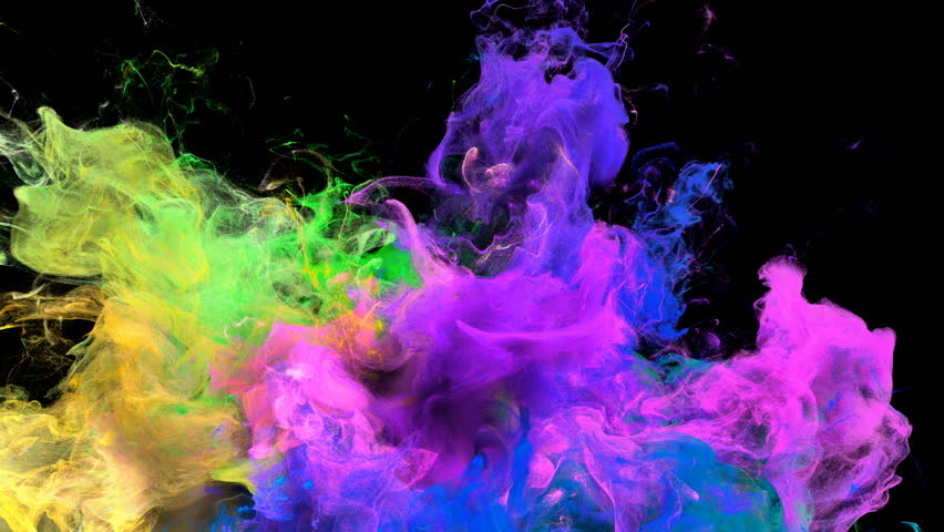 Color Burst - colorful pink yellow blue green smoke explosion from below fluid gas ink particles slow motion alpha matte isolated on black #1010872352