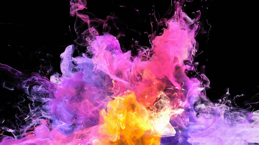 Color Burst - colorful purple pink yellow smoke explosion from below fluid gas ink particles slow motion alpha matte isolated on black #1010872358