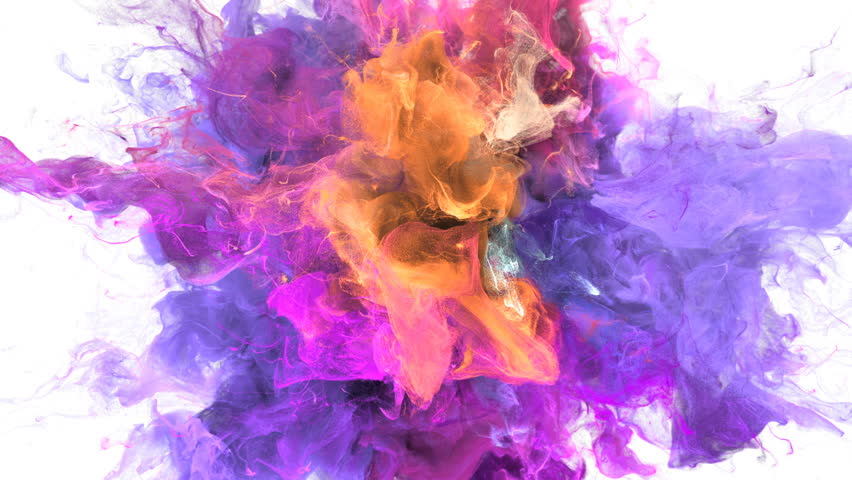 Color Burst - colorful purple magenta pink yellow orange smoke explosion fluid gas ink particles slow motion alpha matte isolated on white Royalty-Free Stock Footage #1010872385