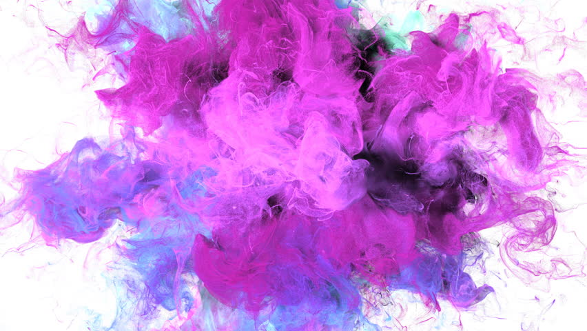 Color Burst - colorful purple pink cyan smoke explosion fluid gas ink particles slow motion alpha matte isolated on white | Shutterstock HD Video #1010872406