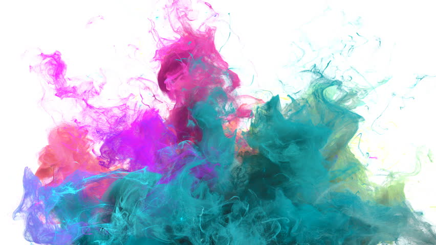 Color Burst - colorful cyan magenta pink green smoke explosion from below fluid gas ink particles slow motion alpha matte isolated on white #1010872415
