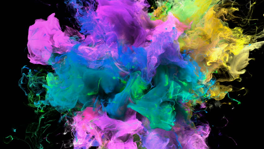 Color Burst - colorful yellow pink blue cyan green smoke explosion fluid gas ink particles slow motion alpha matte isolated on black macro close-up #1010872418