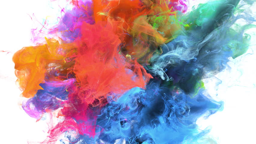 Color Burst - colorful blue magenta pink orange yellow green cyan smoke explosion fluid gas ink particles slow motion alpha matte isolated on white