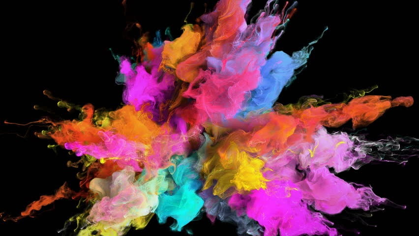 Color Burst - colorful pink magenta orange blue cyan yellow smoke explosion fluid gas ink particles slow motion alpha matte isolated on black #1010872475