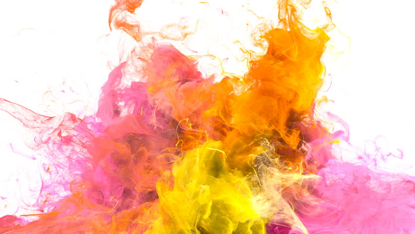 Color Burst - colorful yellow pink orange smoke explosion from below fluid gas particles slow motion alpha matte isolated on white #1010872478