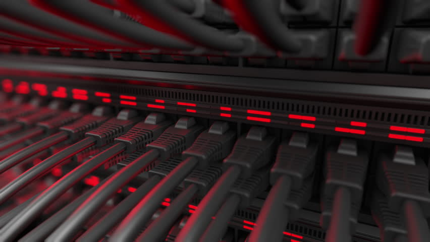 Close-up view of modern internet network switch with plugged ethernet cables. Blinking red lights on internet server. 4k 3d endless loop. Royalty-Free Stock Footage #1010896463