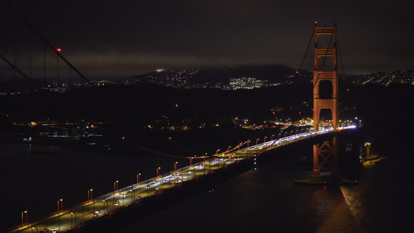 Golden Gate bridge at night - August 2017: San Francisco, California, US