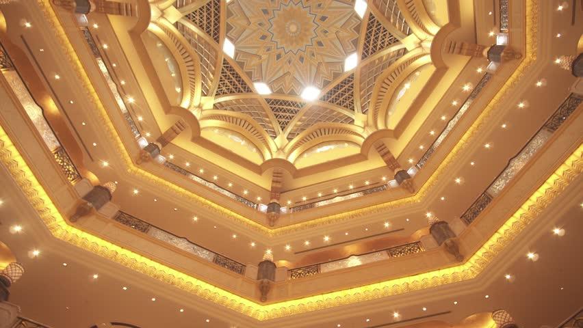 Abu Dhabi, UAE - April 04, 2018: Interior of Presidential Hotel Emirates Palace in Abu Dhabi stock footage video