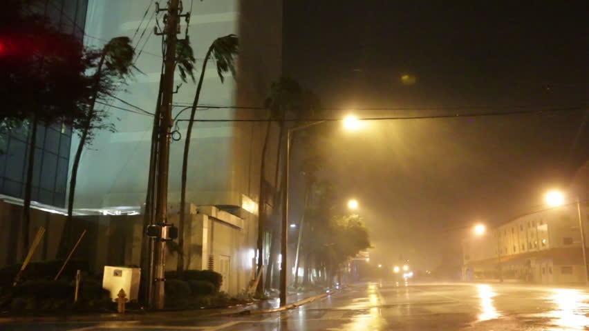 A Hurricane Makes Landfall At Night